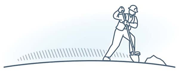 Workers Comp & Disability. Illustration depicting construction worker using shovel.