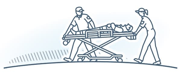 Injury, Liability & Accidents. Illustration depicts EMT's attending to injured person on a stretcher.