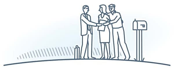 Business & Real Estate. illustration of people meeting at mail box.